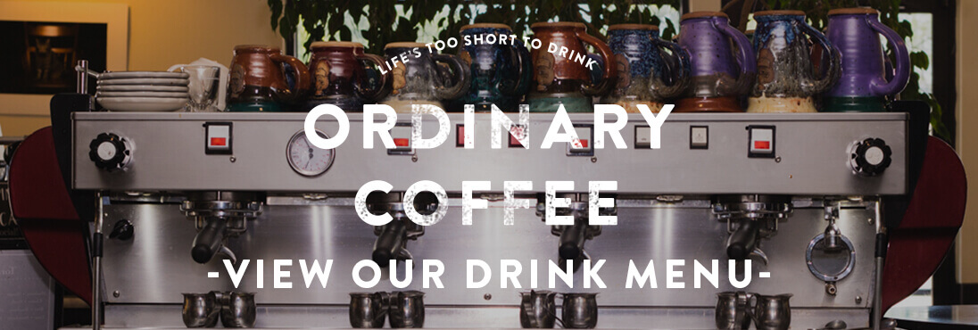 Ordinary coffee graphic with coffee machine background